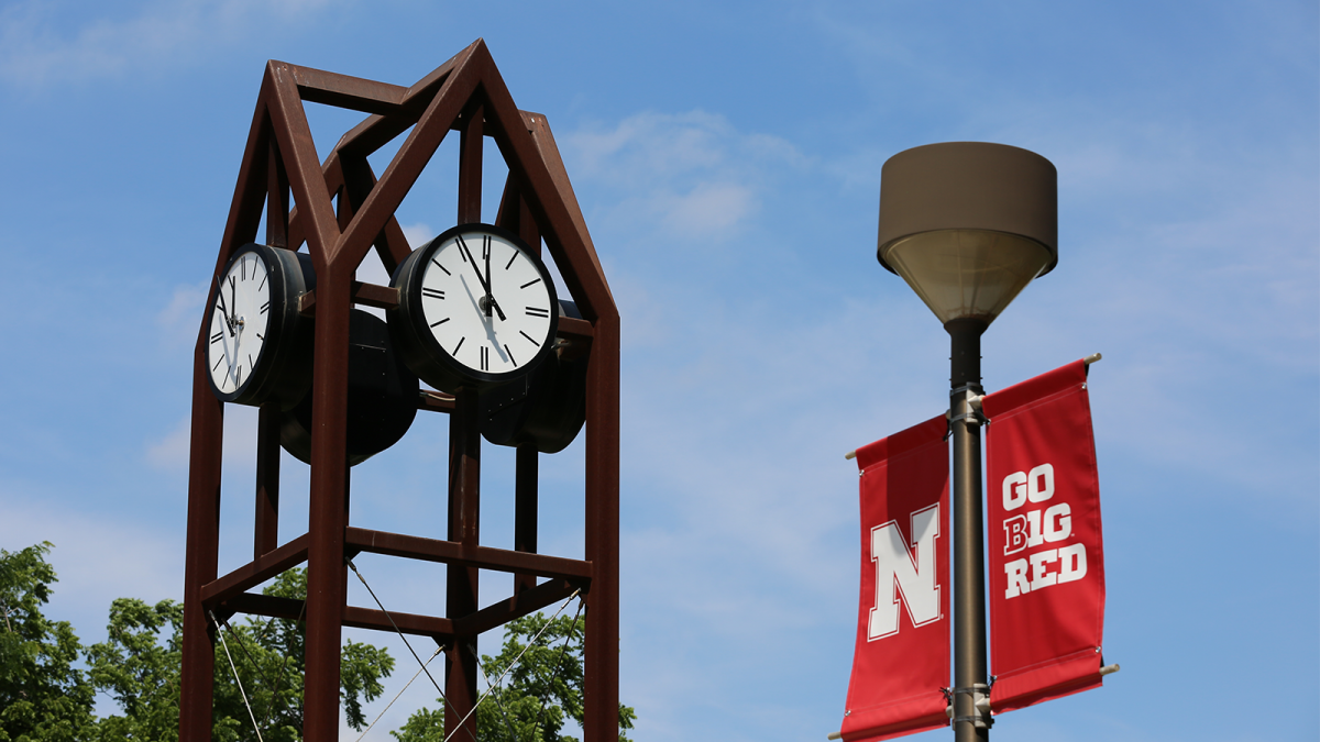 East Campus clock and banner